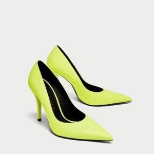 New Zara Neon Pumps Heels Yellow 41 Green Shoes